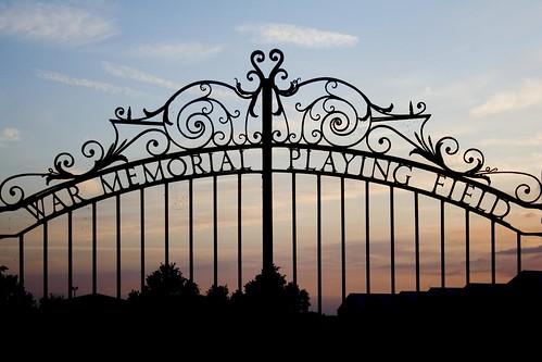 sunset silhouette gate explore ironwork warmemorial fens cambridgeshire playingfield fenland cambs wimblington