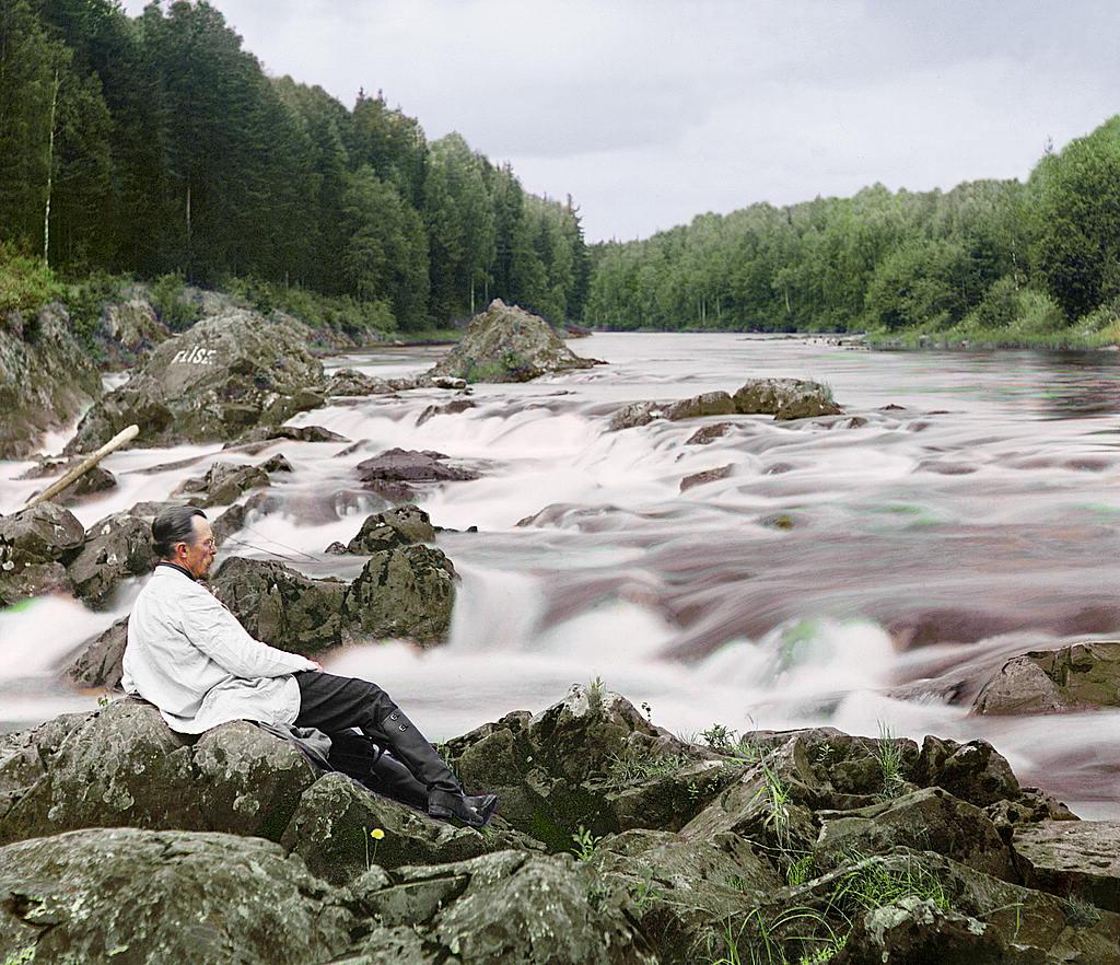 The waterfall Kivach. Suna River, 1915
