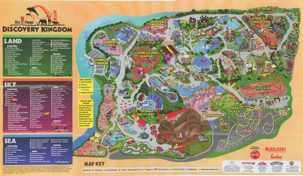 Six Flags Discovery Kingdom Park Map, 2009 | www.sixflags.co ... on dorney park map, legoland california map, kings island map, thorpe park map, disneyland map, great adventure map, great wolf lodge map, great america map, kings dominion map, magic mountain map, cedar point map, electric adventure map, theme parks united states map, hurricane harbor map, amusement park map, sesame place map, universal studios map, cowboys stadium map, geauga lake map, kingda ka map,