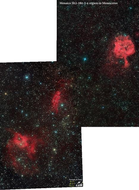Panoramica SH2-280-sh2-282-sh2-284 in monoceros bis