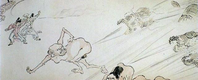 河鍋暁斎「放屁合戦絵巻」(明治時代)
