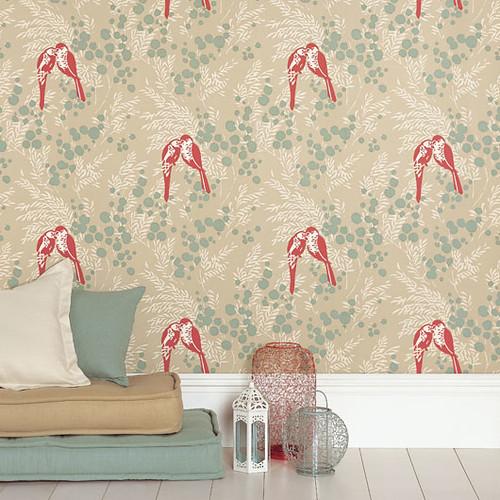 Modern Wallpaper Birds Botanical Print Duck Egg Blue Flickr