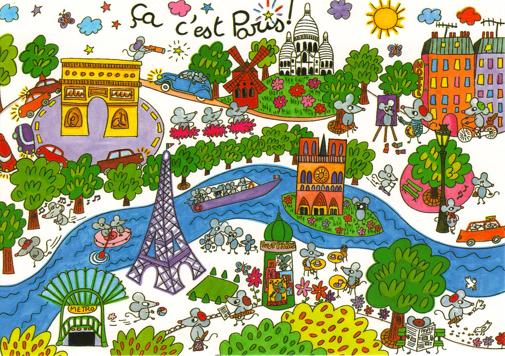 Map Of France Cartoon.France Paris Cartoon Map Postcard Private Trade From Monna Flickr
