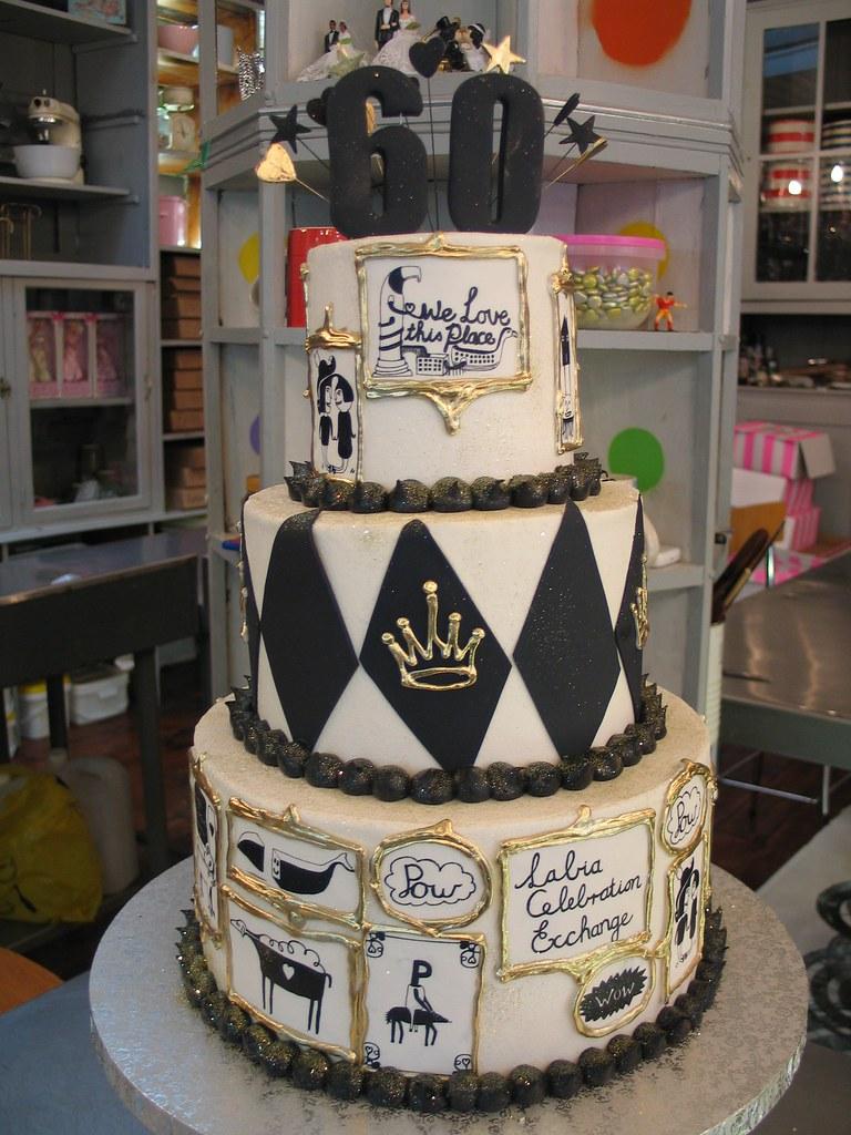 Astonishing Labia Theatre 60Th Birthday Cake In Black White Gold I Flickr Personalised Birthday Cards Akebfashionlily Jamesorg