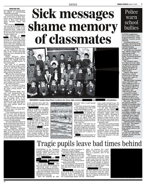 """Dunblane Shame"" Scottish Sunday Express Articles"