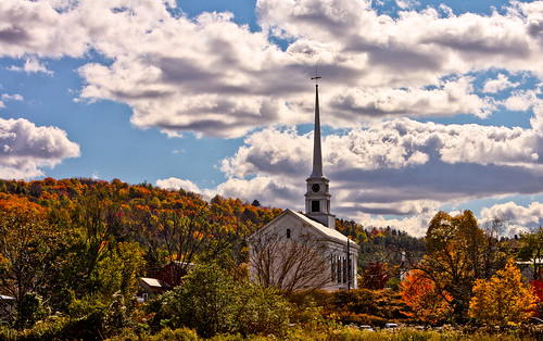 autumn fall church vermont newengland foliage stowe