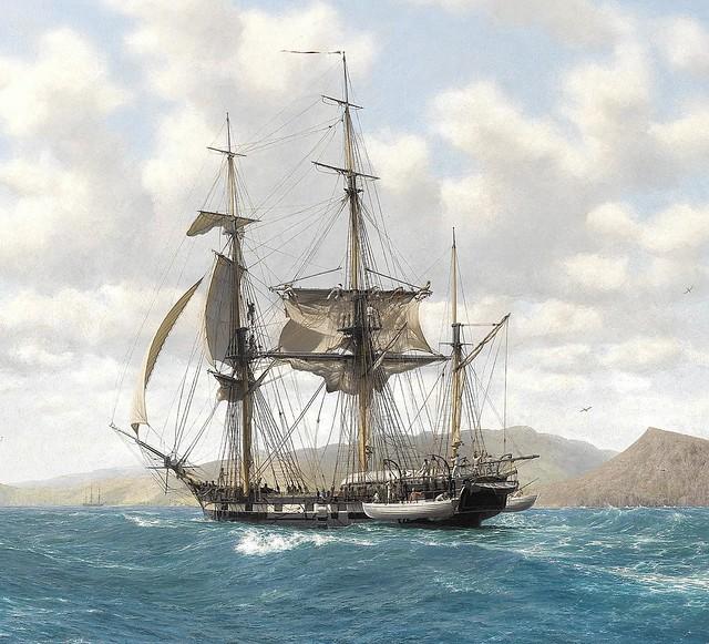 HMS Beagle in the Galápagos by John Chancellor