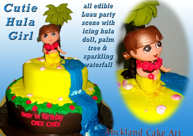 Fantastic Cutie Dora Explorer Hula Girl Luau Birthday Cake New Zeala Flickr Personalised Birthday Cards Cominlily Jamesorg