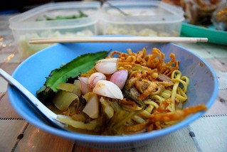 Khao Soi with chicken THB20 -  Night Market, Kad Suan Kaew | by avlxyz