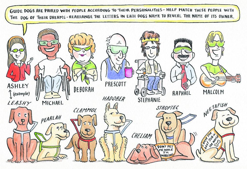 Scrambled Service Dog Names Cartoon Drawing Service Dogs Flickr