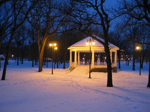 trees winter light snow night twilight quiet dusk parks structures northdakota americana urbandesign weeklysurvivor fargo vivaldi meditative gazebos islandpark culturallandscape oldstructures judgementday54