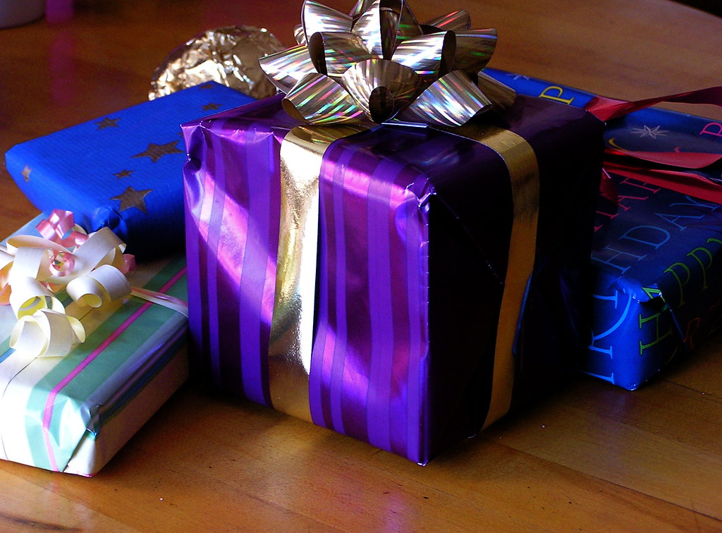 wrapped presents | More birthday booty ... | liz west | Flickr