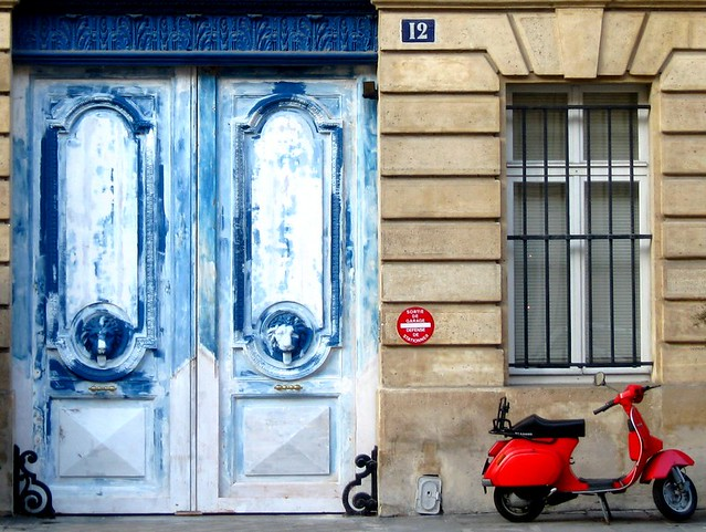 Blue door, red Vespa