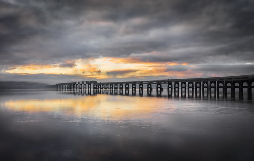 river tay sunrise water dundee bridge rail