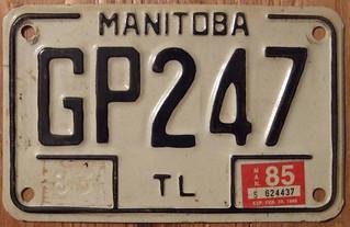 MANITOBA 1985 TRAILER plate