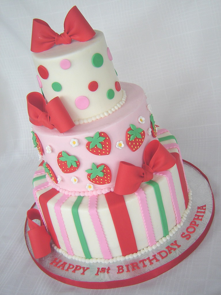 Outstanding Strawberry Shortcake Cake For My Nieces 1St Birthday I C Flickr Birthday Cards Printable Opercafe Filternl
