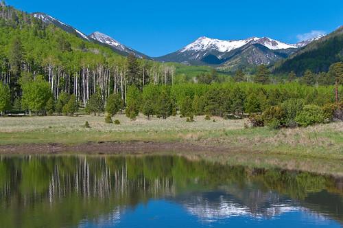 arizona mountain snow reflection water tank hiking meadow trail flagstaff peaks pentaxk20d