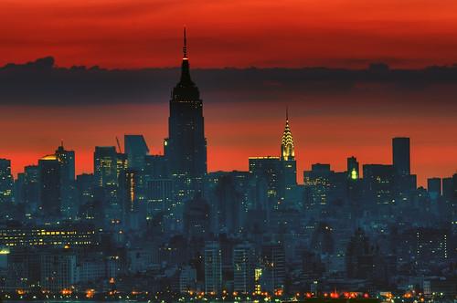 nyc newyorkcity longexposure skyline night sunrise geotagged dawn cityscape nightscape esb empirestate chryslerbuilding hdr mudpig stevekelley