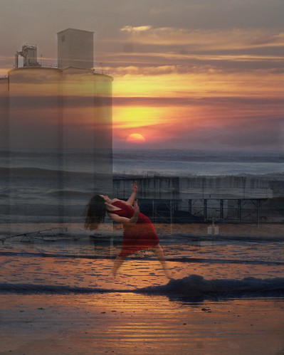ocean sunset sky tower beach cement dancer silo reddress