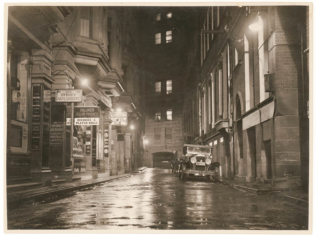 A wet Angel Place, Sydney, 1930s / Sam Hood