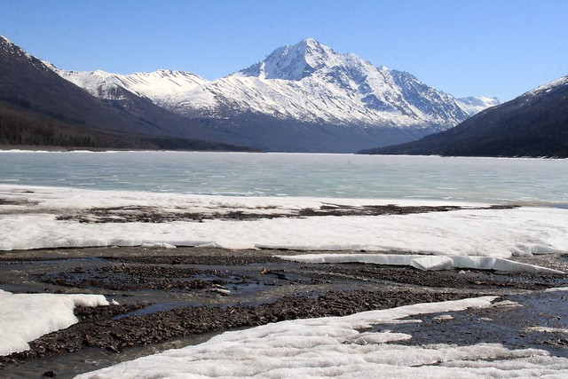 Spring slowing coming to Eklutna Lake, Alaska