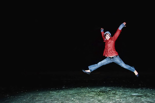 red selfportrait beach night dance jump flash flats jeans jacket freeze myrtle 365 leap 365days heyitscorie coriehowell