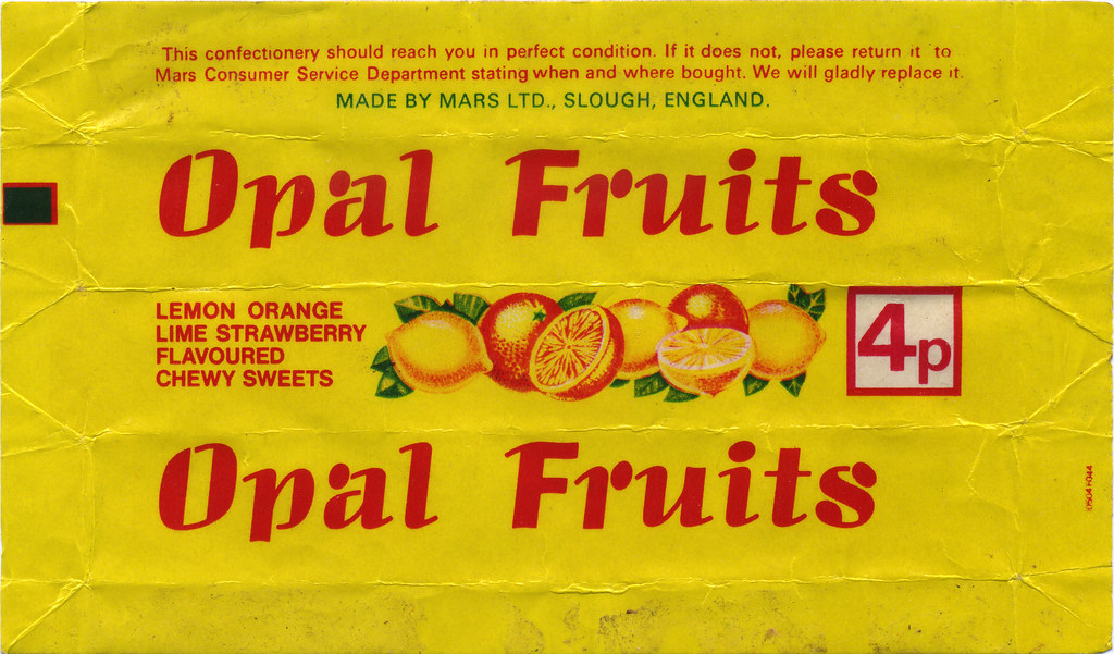 UK - Mars - Opal Fruits [Starburst] 4p candy wrapper - 197… | Flickr