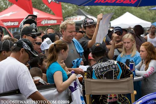 James Stewart signing autographs