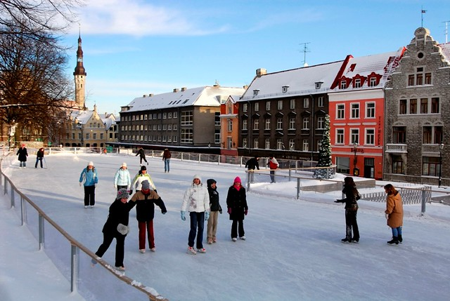 Skating in winter in Tallinn Old Town