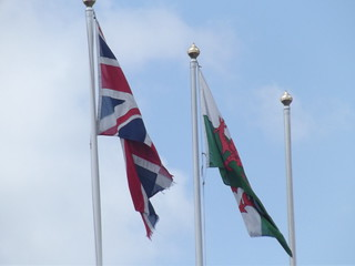 Cardiff Central Station - British and Welsh flags | by ell brown