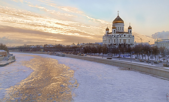 RUS59411(Winter day. Golden river)