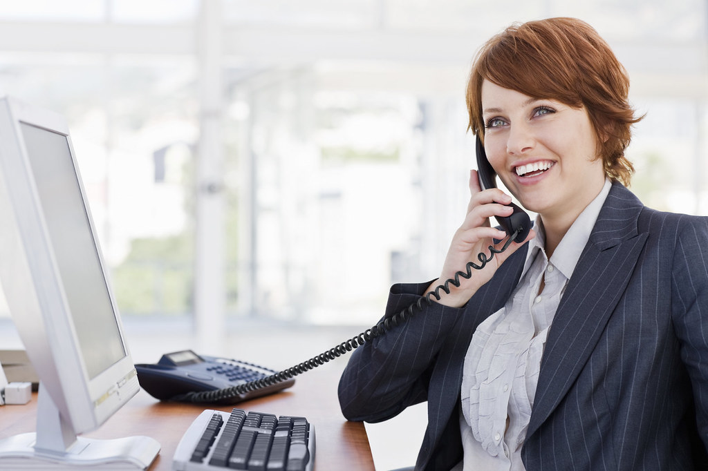 Happy Young Businesswoman Talking On Phone Happy Young Bus
