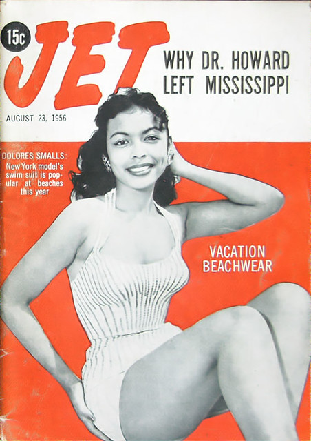 Delores Smalls Models Vacation Beachwear - This Woman Is On A TV Land Model Reality Show NOW!! She's Got The Look!! - Jet Magazine, August 23, 1956