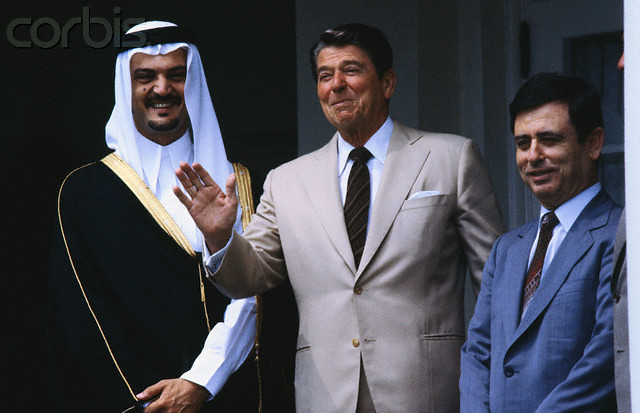 SAUD ALFISAL.   WITH Ronald Reagan and Abdel Halim Khaddam ...