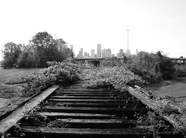 Houston Skyline, from Old MKT Railroad Trestle over White Oak Bayou, near Studemont & I-10, Houston, Texas 0330090947BW