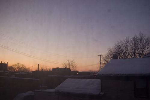 pink blue houses sky usa snow home silhouette sunrise buildings dawn michigan gray 2009