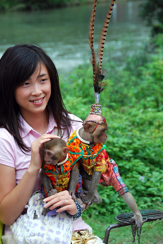 monkey photo op, yangshuo | by hopemeng