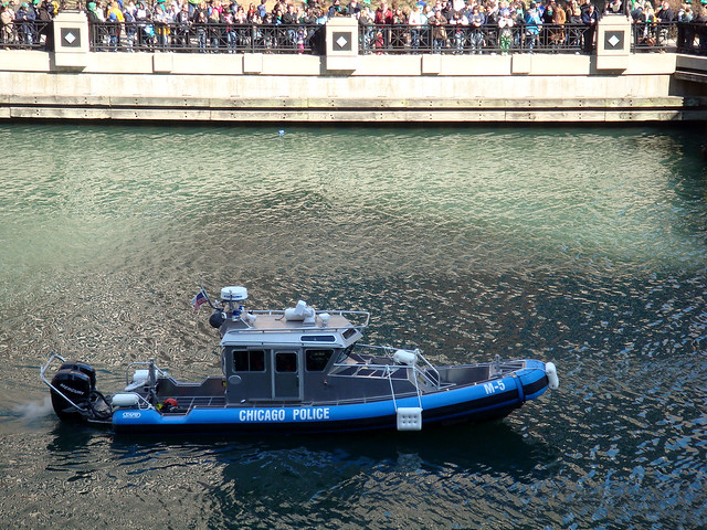 Watching the Chicago Police Department's Marine Unit keep things calm for today's green dyeing of the Chicago River