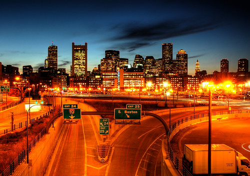 longexposure night landscape highway downtown cityscape nightshot massachusetts nighttime bostonma hdr highdynamicrange tstation exit25 cartrails route93 bcec tedwilliamstunnel worldtradecenterboston southbostonwaterfront anawesomeshot bostonconventionandexpositioncenter