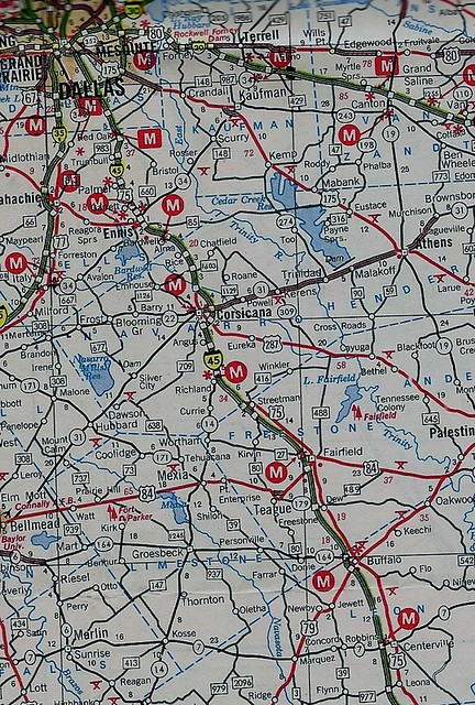 Texas Strip Map Of I 45 Between Dallas And Centerville 19