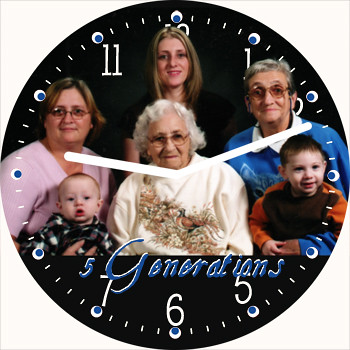 5 Generations Clock | by customclockface