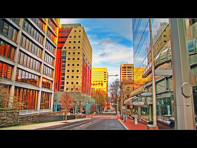 Looking Down Southwest Madison Avenue, Portland, Oregon - HDR