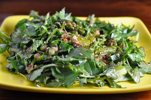 Mizuna and watercress salad with roasted asparagus, toasted sesame and garlic-soy dressing | by anjuli_ayer