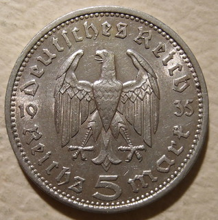 GERMANY ---5 REICHSMARK 1935, NO SWASTIKAS a