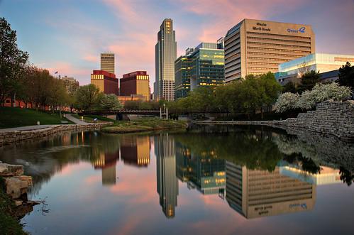 city morning pink blue light reflection skyline night sunrise mall nebraska nikond70 gene clear omaha 2008 hdr geneleahymall leahy photomatix nikon1870mm