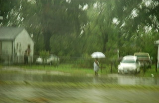 Hurricane Ike: Lady with Umbrella