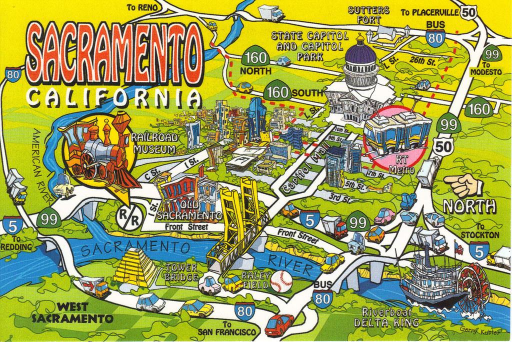 Sacramento City Map California State Sacramento City Map Postcard | Show The Map… | Flickr
