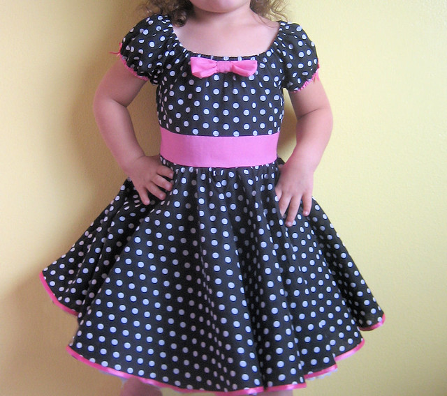 da65b26b463ba ... Retro party dress in black & white polka dots with a double circle  skirt | by