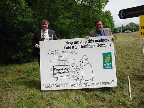 Dominick Donnelly and Dan Boyle unveiling Dominick's anti-incineration poster at Shannonpark roundabout, Carrigaline | by Cllr. Dominick Donnelly