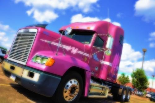 2009 jun09 missouri hdr truck trucker bigrig semi 16wheeler longhauler myeffect highdynamicrange stlouis saintlouis amazingphotography pinktruck flickrgolfclub ronniesparkinglot